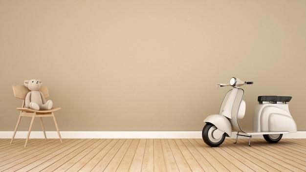 Niedźwiedź na bujanym krześle i rocznika motocykl w dzieciaka pokoju 3d renderingu