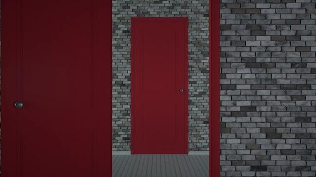 Niekończące Się Otwieranie Czerwonych Drzwi. Niekończące Się Otwieranie Czerwonych Drzwi. Renderowanie 3d Premium Zdjęcia