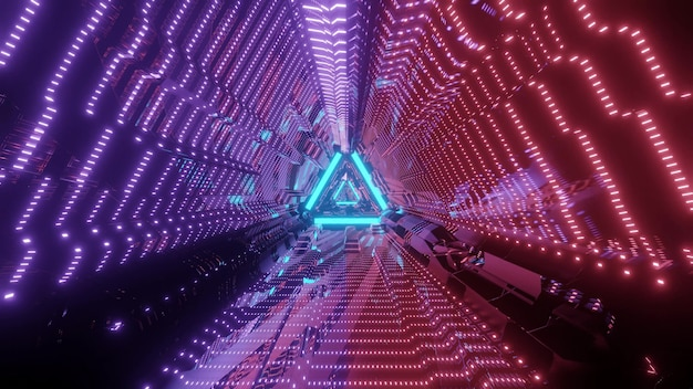 Niekończący się abstrakcyjny tunel w kształcie trójkąta ze świecącymi światłami w ciemności ilustracji 3d