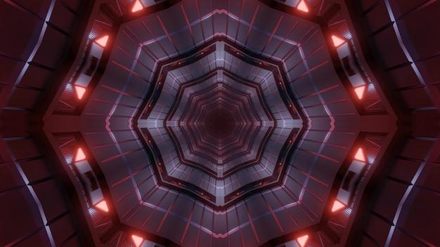 Niekończący się futurystyczny transport 4k uhd lub podziemny tunel 3d ilustracja tło