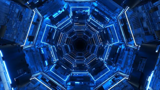 Niekończący się korytarz przyszłości. statek kosmiczny. oświetlenie neonowe. latanie w tunelu.