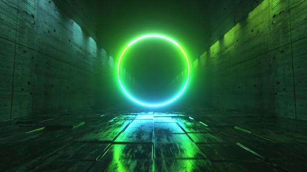 Niekończący się lot w futurystycznym ciemnym korytarzu z neonowym oświetleniem. z przodu jasny neonowy okrąg.