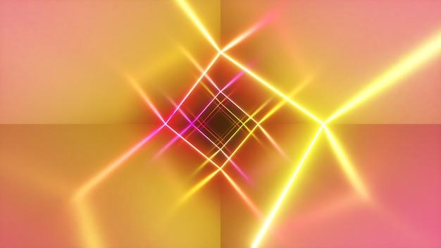 Niekończący się lot w korytarzu z laserową krzywą neonu. nowoczesne oświetlenie ultrafioletowe. ilustracja 3d