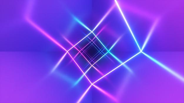 Niekończący się lot w korytarzu z laserową krzywą neonu. nowoczesne oświetlenie ultrafioletowe. niebiesko-fioletowe widmo światła. ilustracja 3d