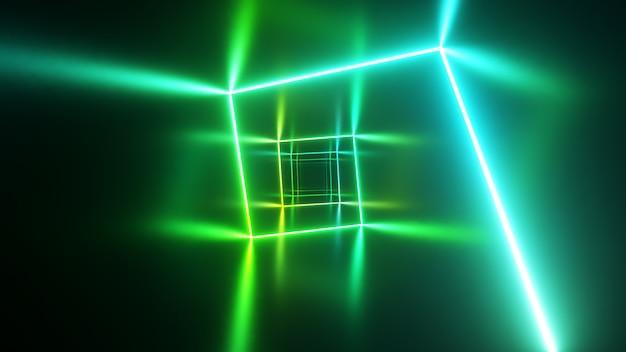 Niekończący się lot w korytarzu z laserową krzywą neonu. nowoczesne oświetlenie ultrafioletowe. widmo niebieskiego zielonego światła. ilustracja 3d
