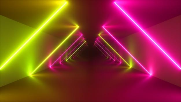 Niekończący się metalowy tunel z neonów