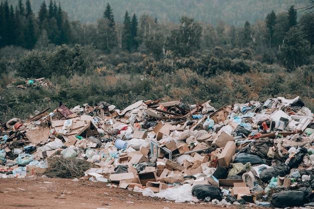 Nielegalne składowisko odpadów w środku lasu i pola. góry śmieci