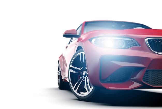 Niemarkowy samochód ogólny czerwony sport na białym tle