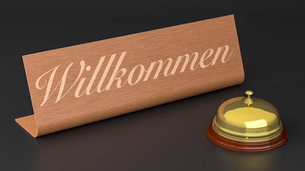 Niemiecki znak powitalny z hotelowym dzwonkiem. renderowanie 3d