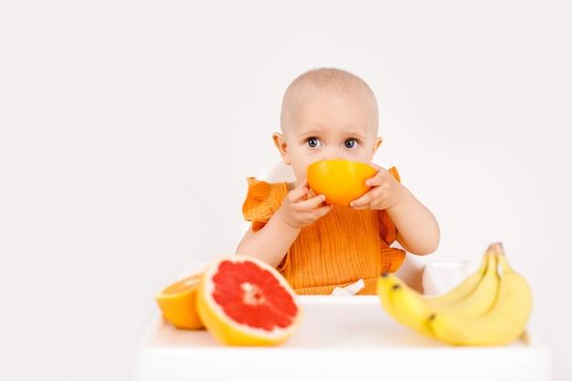Niemowlę dziewczynka siedzi w wysokim krzesełku dziecka, jedzenie owoców na białym tle. koncepcja żywności dla niemowląt, miejsce na tekst