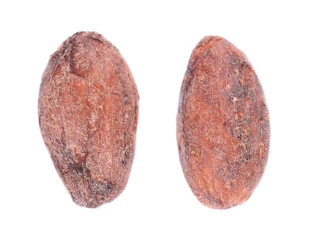 Nieobrane ziarna kakaowe, na białym tle