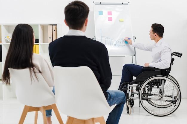 Niepełnosprawny młody biznesmen siedzi na wózku inwalidzkim, dając prezentacji do swojego kolegi z pracy w biurze