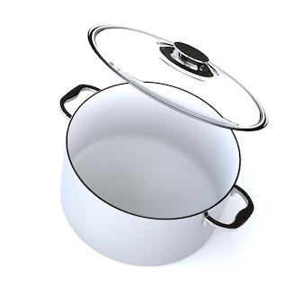 Nierdzewny rondel z otwartą szklaną pokrywą na białym tle na białym tle. renderowanie 3d
