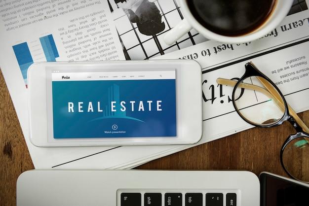 Nieruchomości zakwaterowanie nieruchomości inwestycje słowo graficzne