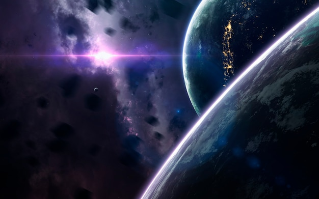 Niesamowicie piękne planety, galaktyki, ciemne i zimne piękno nieskończonego wszechświata