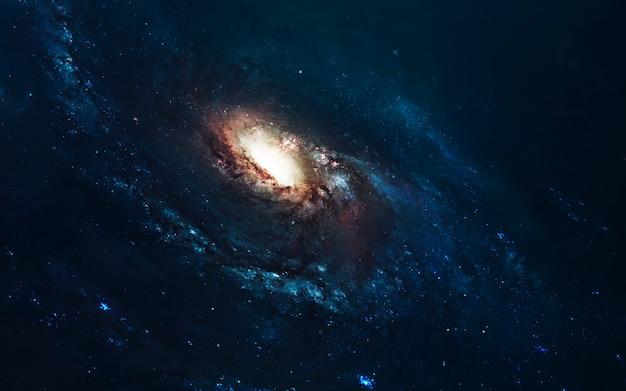 Niesamowita galaktyka spiralna. głęboka przestrzeń, piękno niekończącego się kosmosu. tapeta science fiction.