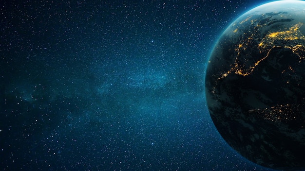 Niesamowita głęboka przestrzeń z gwiazdami i niebieska planeta ziemia z miejskimi światłami w nocy. miejsce na projekt i tekst.