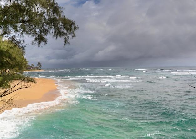 Niesamowita hawajska plaża. fala w oceanie o zachodzie lub wschodzie słońca z surferem. fala w ciepłych kolorach zachodu słońca.