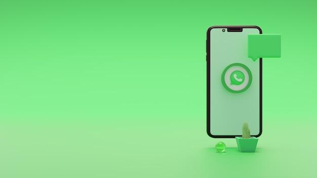 Niesamowita ikona logo mediów społecznościowych whatsapp 3d render na ekranie mobilnym