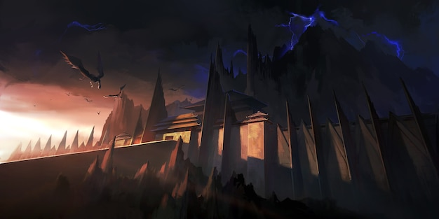 Niesamowita ilustracja ciemnego zamku.