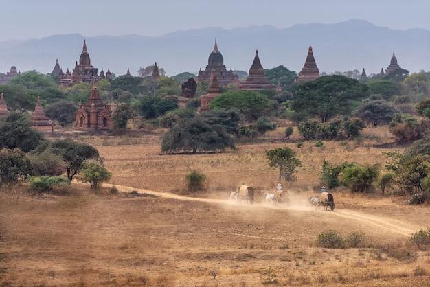 Niesamowita słynna podróż i krajobraz sceny starożytnych świątyń i powozów