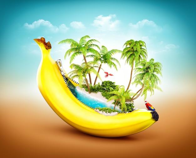 Niesamowita tropikalna plaża z palmami wewnątrz banana