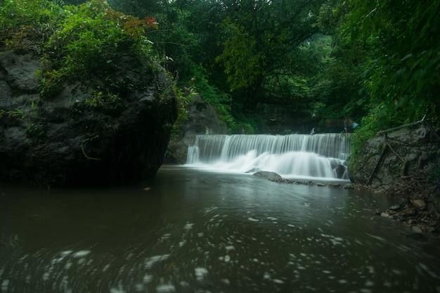 Niesamowite ujęcie małego wodospadu otoczonego piękną przyrodą