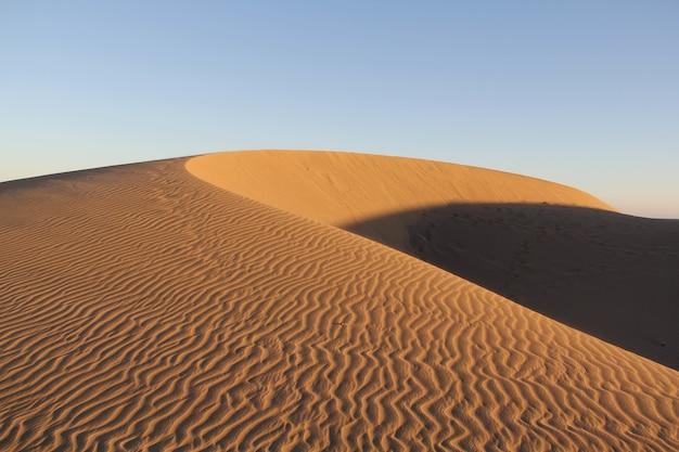 Niesamowite ujęcie pustynnej wydmy na niebieskim niebie