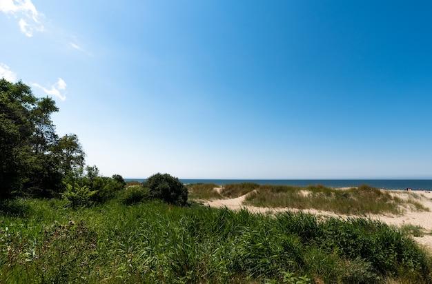 Niesamowity letni widok na wybrzeże bałtyku, piaszczysty szlak i błękitne morze
