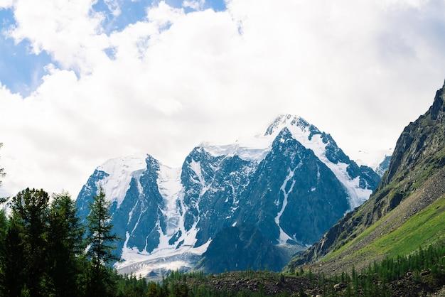 Niesamowity ogromny lodowiec za lasem iglastym.
