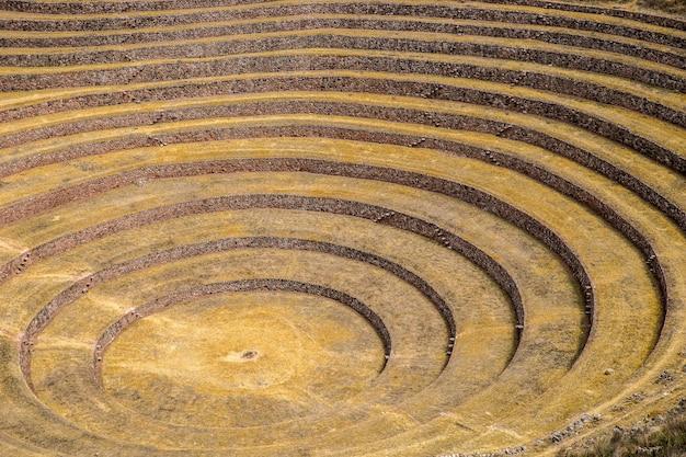 Niesamowity widok na okrągłe tarasy w upalny dzień
