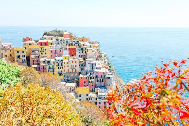 Niesamowity widok na piękną wioskę manarola w rezerwacie cinque terre.