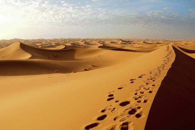 Niesamowity widok pięknej pustyni podczas zachodu słońca pod pochmurnym niebem
