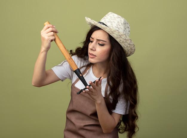 Nieświadoma młoda kobieta ogrodniczka w mundurze w kapeluszu ogrodniczym trzyma i patrzy na prowizję odizolowaną na oliwkowej ścianie