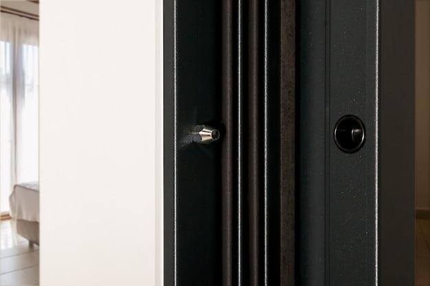 Nieusuwalne kołki do drzwi. bezpieczeństwo twoich drzwi wejściowych przed ich wyjęciem z ramy. twój dom jest w pełni chroniony. miejsce na kreatywność z miejscem na napis, tekst lub logo