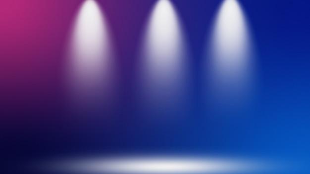 Niewyraźne niebieskie i fioletowe kolorowe tło gradientowe reflektorów
