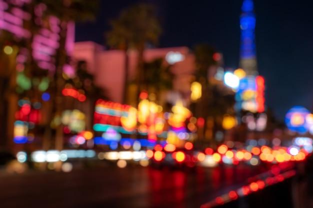 Niewyraźne światła miasta w nocy zastosowane tonowanie kolorów las vegas usa