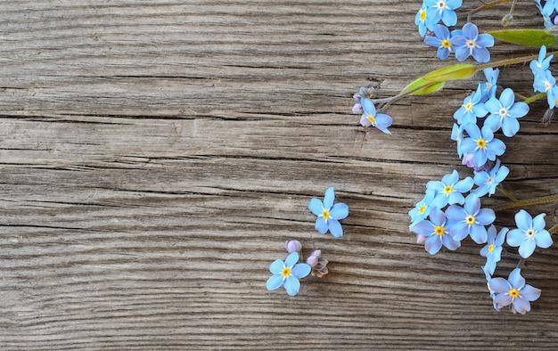 Niezapominajkowe kwiaty na starym drewnianym tle widok z góry