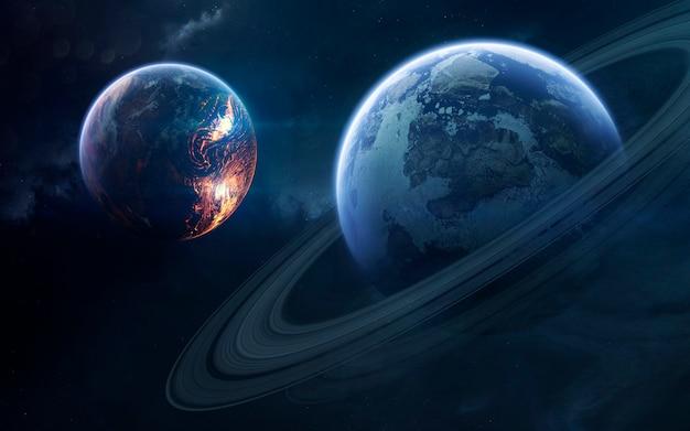 Niezbadane planety w odległej przestrzeni. obraz z kosmosu, fantasy science fiction w wysokiej rozdzielczości, idealny do tapet i druku. elementy tego zdjęcia dostarczone przez nasa