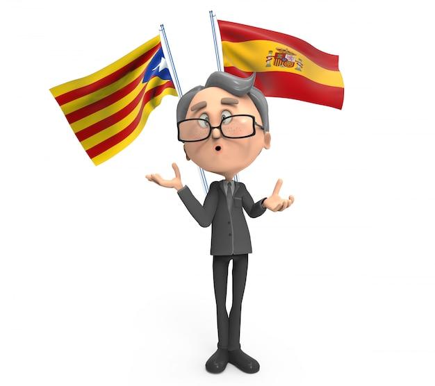 Niezdecydowany mężczyzna na hiszpańskiej lub katalońskiej fladze