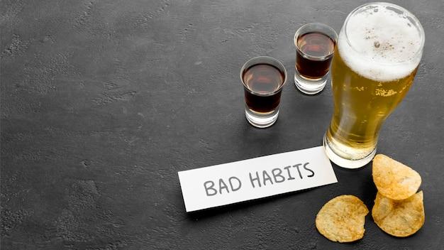 Niezdrowy styl życia ze złymi nawykami