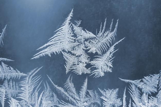 Niezwykły mróz na zimowym oknie