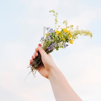 Niski kąt ręki trzymającej piękny bukiet kwiatów