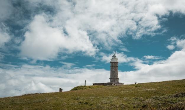Niski kąt starzejącej się latarni morskiej burmistrza faro de cabo położonej na trawiastym wzgórzu na tle zachmurzonego błękitu nieba