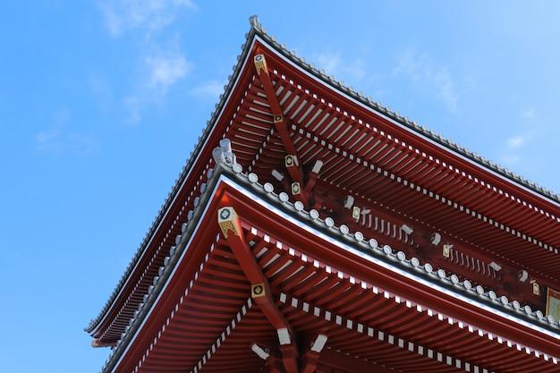 Niski kąt strzału z boku najstarszej świątyni senso-ji w tokio