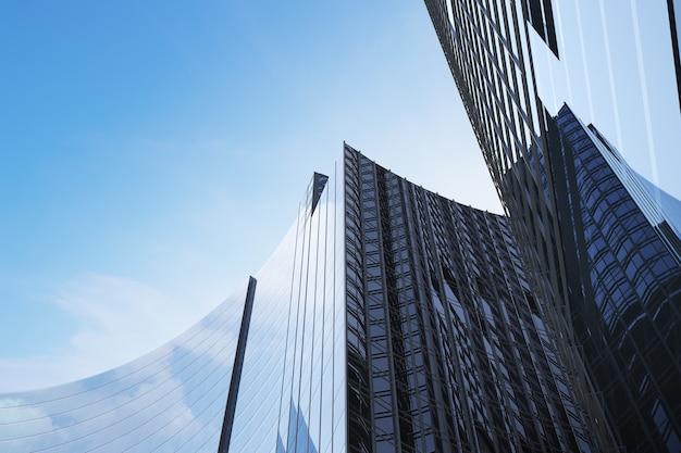 Niski kąt widzenia futurystycznej nowoczesnej architektury, wieżowiec biurowca firmy, renderowania 3d.