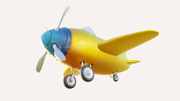 Niski kąt widzenia retro ładny żółty i niebieski dwumiejscowy samolot na białym tle. renderowanie 3d.