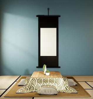 Niski stół i poduszka kotatsu mata ontatami, ciemnoniebieski pokój w japonii i makieta ramy