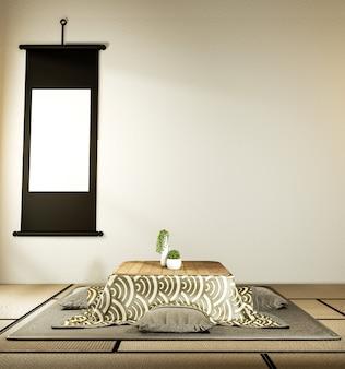 Niski stół i poduszka kotatsu mata ontatami, pokój w japonii i makieta stelaża 3d