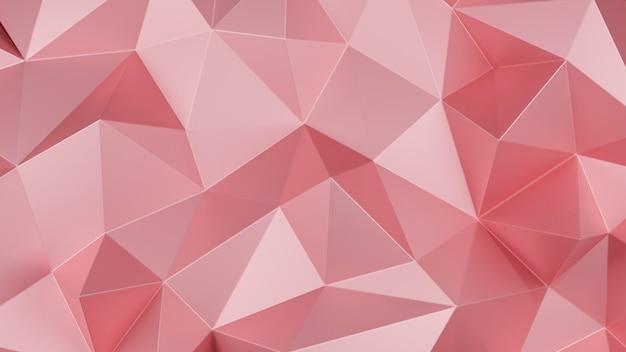 Niski wielokąt w kolorze różowego złota. różowy geometryczny trójkątny wielokąt. streszczenie tło mozaiki. ilustracja renderowania 3d.